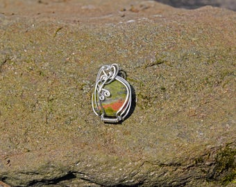 Sterling Silver Wire Wrapped Unikite