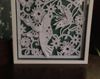 Shadowbox Paper Hummingbird Art
