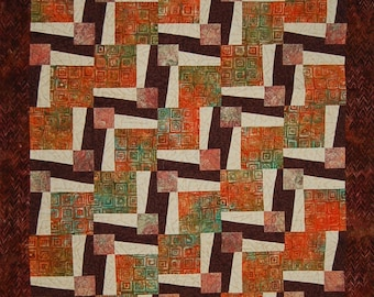 Brown and Orange Modern Zigzag Quilt