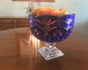 Faberge styled thick etched glass fruit bowl