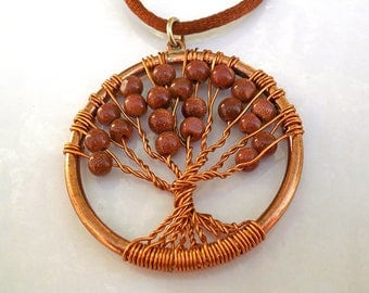 Tree of Life Necklace. Tree of life pendant Necklace, Protection Tree Necklace.Wire Wrapped Necklace,Wire Wrapped Goldstone pendant necklace