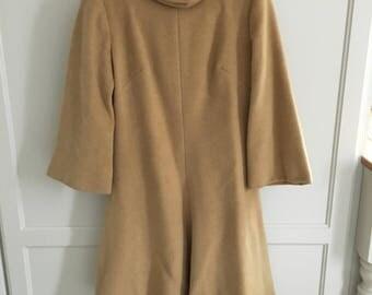 beige 1960s wool mini dress