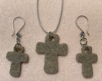 Cross Gray Granite Clay Diffuser Necklace and Earrings