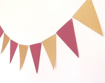 Pink And Glittery Gold Triangle Flag Banner - Cardstock Banner - Paper Flag Banner - Triangle Banner - Wedding Decorations