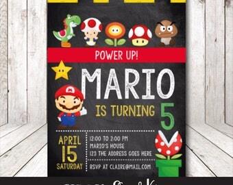 Super mario invitation, Super Mario birthday, Mario bros party, Mario bros birthday, Mario bros Invitation, Mario bros birthday party