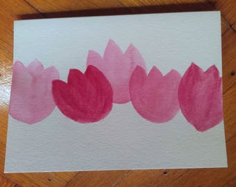 "Pretty In Pink Tulip Watercolor Greeting Card (5"" x 6 7/8"")"