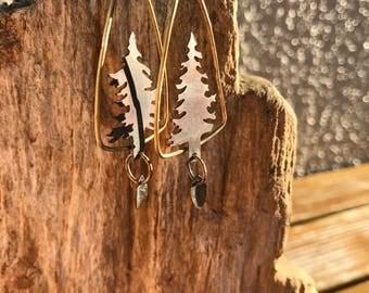 Pine tree earrings