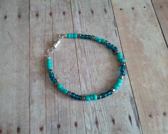 Tropical Blues Glass Beaded Bracelet