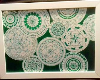 Handmade green mandala