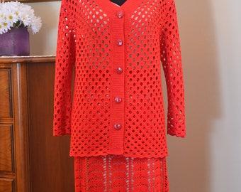 Crochet Cotton Red Jacket Skirt Dress Elegant Special