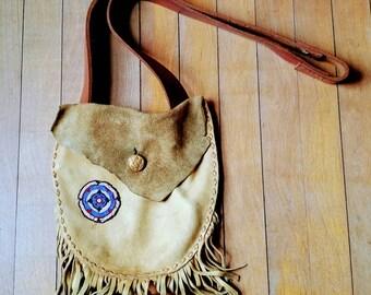 Vintage, Handmade, Beaded, Leather Bag