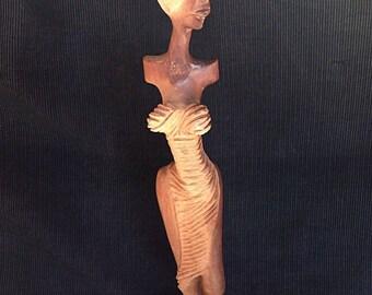 Beautiful solid wood, Provenance Q B A statuette... H 41 cm