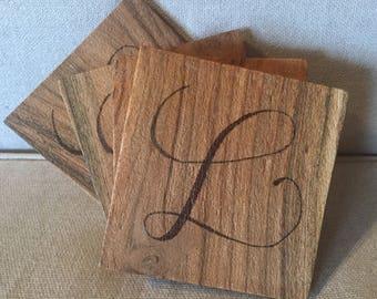Custom wood-burned coaster- set of 4
