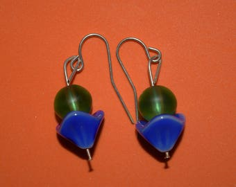 Blue flower and green ball earrings