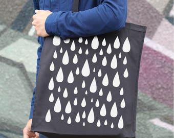 Rain Drops Tote, Tote Bag Pattern, Canvas Tote Bag, Cotton Tote, Drop Print Bag, Birthday Gift, Hemp Bag, Shoulder Bag, Gift For Her TT012