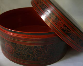 Vintage betel box from paint and woven bamboo - betel lacquer box (kun it) BURMA - MYANMAR