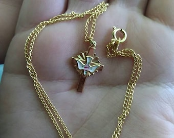 Vintage cross necklace vintage dove necklace vintage religious necklace gold tone necklace