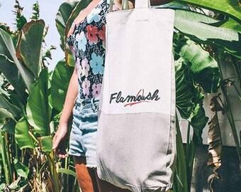 Flamoush beachwear screen printed cotton tote bag / beach bag / handy to take with you wherever you go.