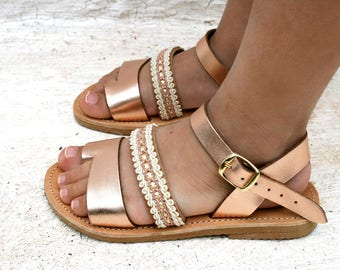 Metallic leather sandals-copper sandals -SHINY&CHIC-mother and girl shoes