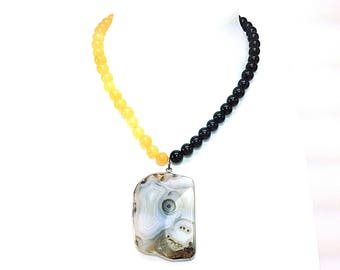 Natural gems - Agate, Calcite and Onyx necklace