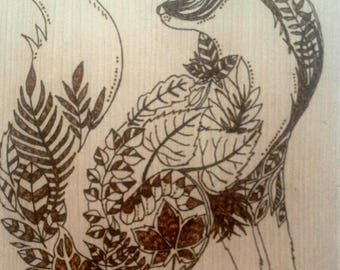 Painting on wood burning pyrography woodart Fox picture