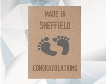 MADE IN PERSONALISED New Baby Card, Funny New Baby Card, New Baby Footprints, Baby Card, Expecting Card, Baby Shower
