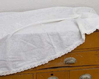 White Round Vintage Tablecloth With Trim