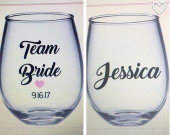 Bridesmaid wine glass. Bridesmaid ask gift. Team bride wine glass. Bridesmaid gift ideas.  Bachelorette wine glasses. Bachelorette party