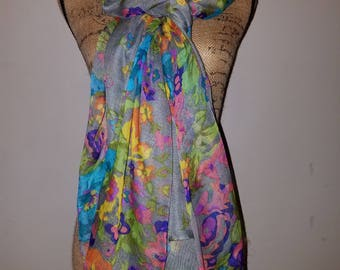 Bright and vibrant floral shawl or scarf neck wrap head piece