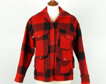 Red and Black Buffalo Plaid Wool Coat