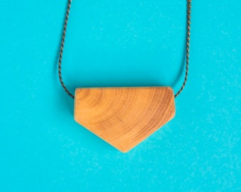 Geometric Wooden pendant with crust / Necklace