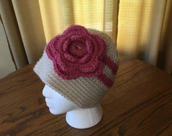 Pink & Cream Flowered Ladies Cap