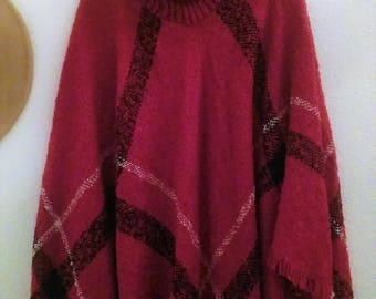 Red Wool Poncho - High Collar
