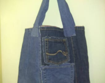 Upcycled denim tote, market bag, carry-all, hand bag, purse