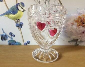 Cut glass heart vase
