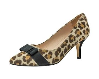 Wide Fit Leopard Print Kitten Heel
