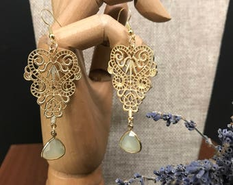 Gold and green chandelier earrings