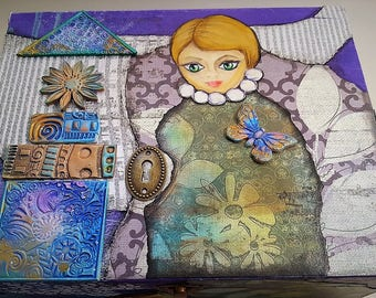 Large wooden box with girl and butterfly, hand painted