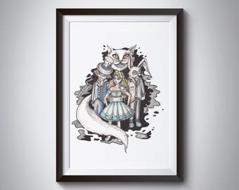 Alice in Wonderland Digital Painting/ Mad Hatter/ Cheshire Cat/ Rabbit/ Wall art/ Poster