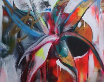 Aloe Vera Plant, spray paint art, original artwork