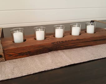 Reclaimed Barn Beam 5 Candle Holder with Metal Handles