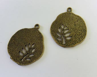 Antiqued Bronze  Round Tree Charms 28 x 23mm