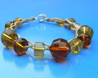 Amber Glass Beaded Bracelet
