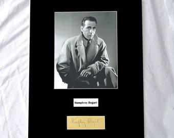 vintage Humphrey Bogart Autograph Autographed Signed Display Art Piece black and white photograph photo artwork