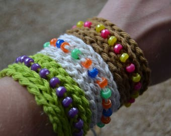 Crochet Beaded Wrap Bracelets (Set of 3)