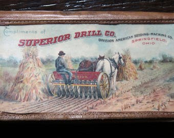 1906 Horse Drawn Farm Machiery Advertising Notepad Celluloid Covers