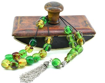 Green Caribbean Amber color, Worry Beads, Greek Komboloi, Metal Tassel, Relaxation, Gift for Him, Made in Greece, Tesbih, Stress Relief