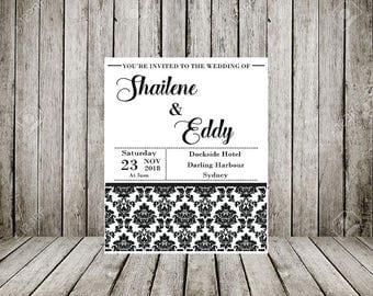 Wedding Invitation Printable, Black and White Pattern