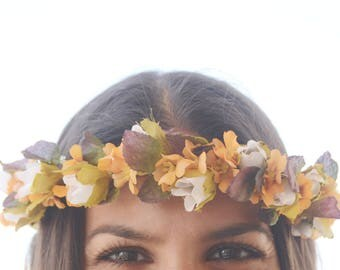 ALIN FLOWER CROWN - Orange and white flower crown, Romantic flower crown, Fall flowers, Floral crown, Braid flower crown, Flower girl crown