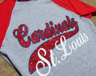 St. Louis Cardinals Shirt in SPARKLING GLITTER - Baseball Jersey Style Short or 3/4 Sleeve with Red Sleeves - Ladies or Unisex Cut
